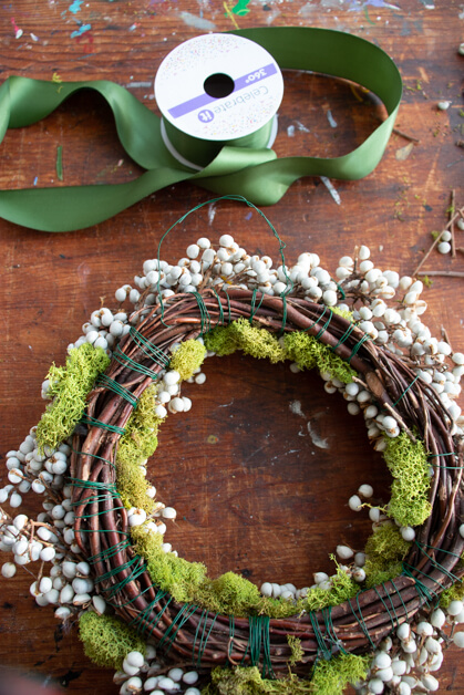 grapevine wreath base tallow berry spring wreath idea