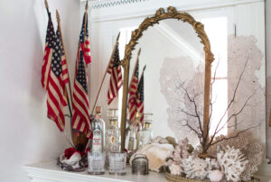 Patriotic glamour coral and brass