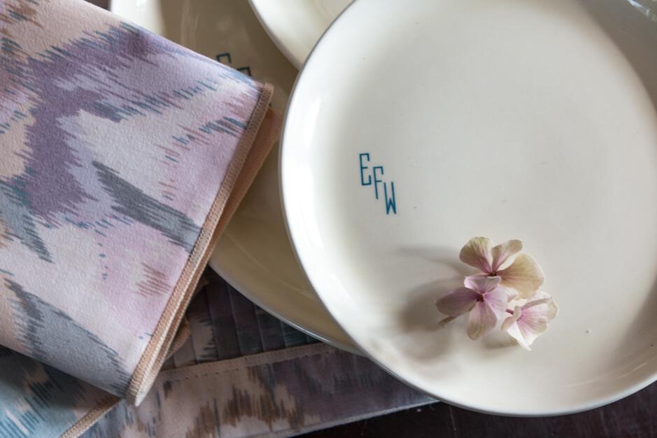 mauve cream and blue vintage plates