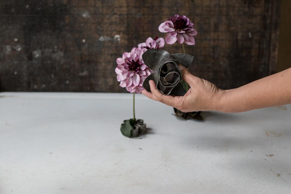 purple dahlias vintage flower frog